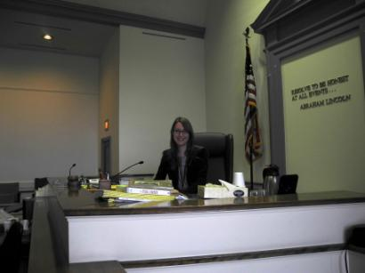 Sitting in Judge Guido's seat in the courtroom